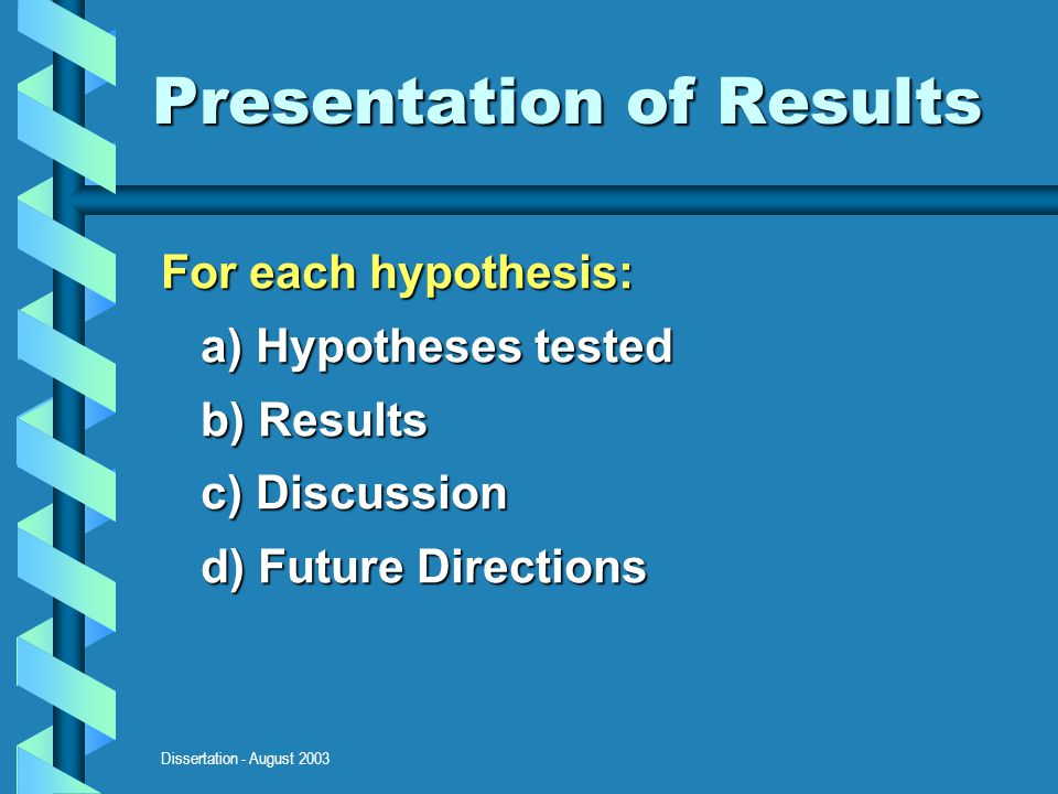 Dissertation - August 2003 Presentation of Results For each hypothesis: a) Hypotheses tested b) Results c) Discussion d) Future Directions