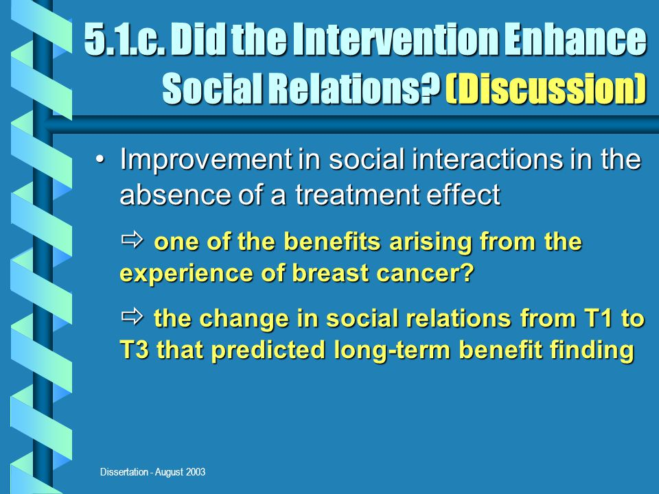 Dissertation - August 2003 5.1.c. Did the Intervention Enhance Social Relations.