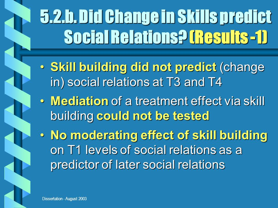 Dissertation - August 2003 5.2.b. Did Change in Skills predict Social Relations? (Results -1) Skill building did not predict (change in) social relati