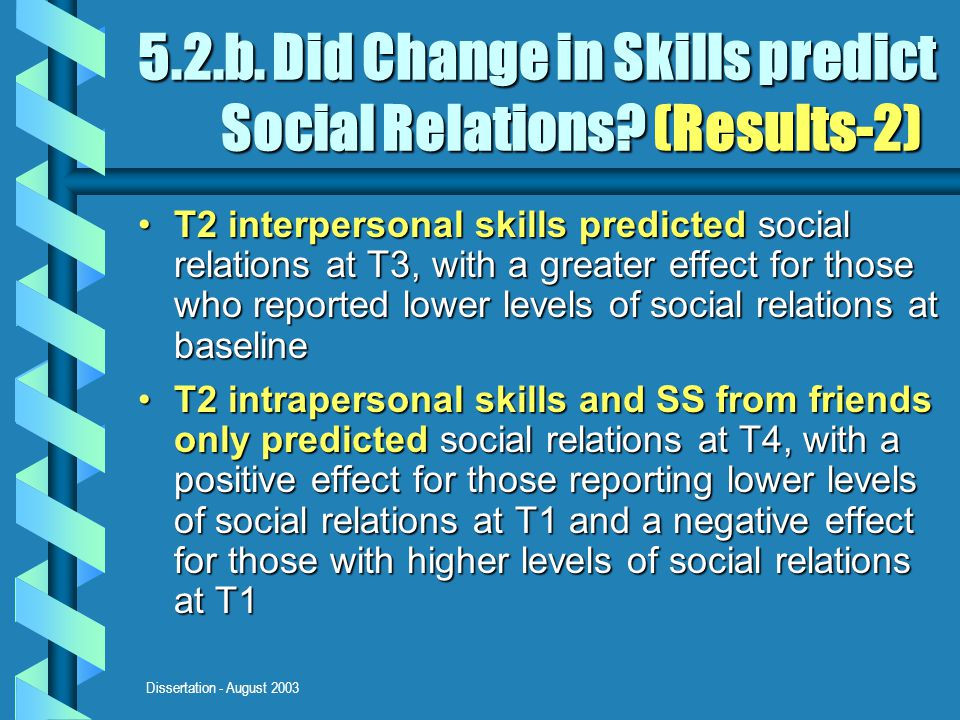 Dissertation - August 2003 5.2.b. Did Change in Skills predict Social Relations? (Results-2) T2 interpersonal skills predicted social relations at T3,