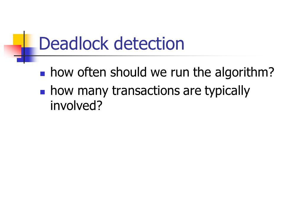 Deadlock detection how often should we run the algorithm.