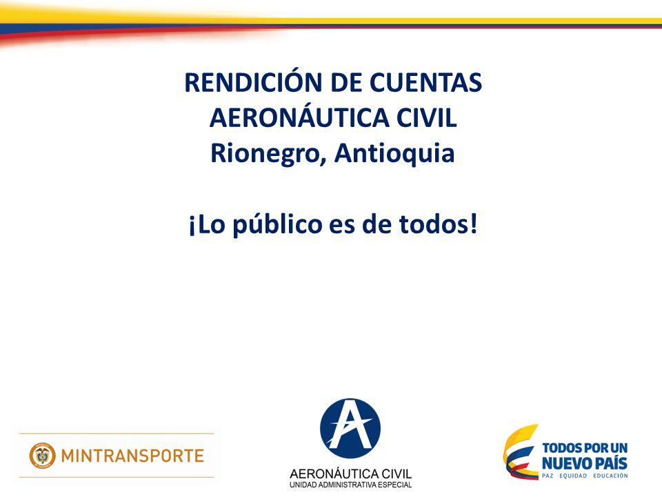 RENDICIÓN DE CUENTAS AERONÁUTICA CIVIL Rionegro, Antioquia ¡Lo público es de todos!