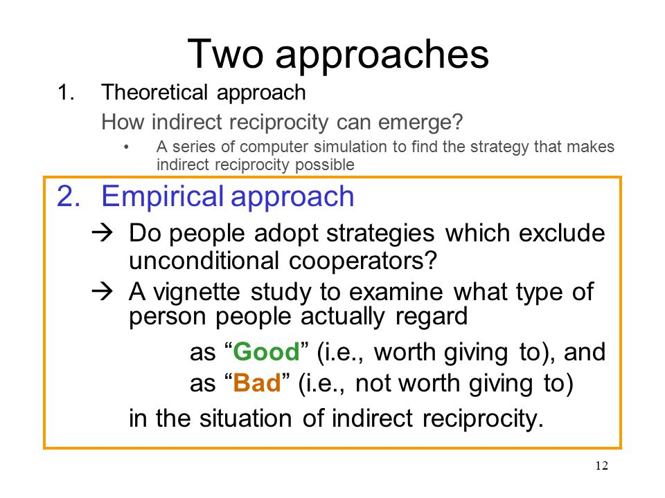 12 Two approaches 1.Theoretical approach How indirect reciprocity can emerge.