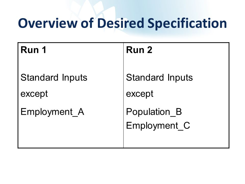 Overview of Desired Specification Run 1 Standard Inputs except Employment_A Run 2 Standard Inputs except Population_B Employment_C