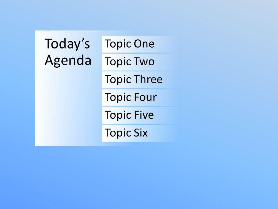 TopicSpeakerTime Topic OneSpeaker One9:00-9:30am Topic TwoSpeaker Two9:30-10:00am Topic ThreeSpeaker Three10:00-10:30am Topic FourSpeaker Four11:00-12:00pm Lunch Topic FiveSpeaker Five1:00-1:30pm Topic SixSpeaker Six1:30-2:00pm Today's Agenda