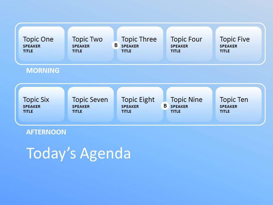 Topic One SPEAKER TITLE Topic Two SPEAKER TITLE Topic Three SPEAKER TITLE Topic Four SPEAKER TITLE Topic Five SPEAKER TITLE Today's Agenda Topic Six SPEAKER TITLE Topic Seven SPEAKER TITLE Topic Eight SPEAKER TITLE Topic Nine SPEAKER TITLE Topic Ten SPEAKER TITLE MORNING AFTERNOON B B