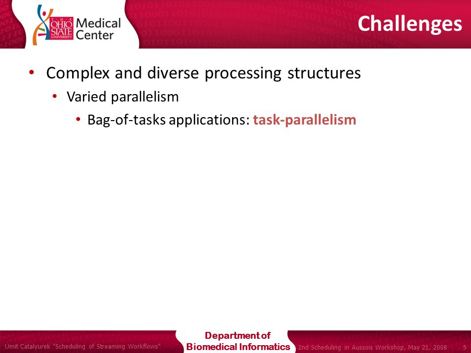 Department of Biomedical Informatics Umit Catalyurek Scheduling of Streaming Workflows 5 2nd Scheduling in Aussois Workshop, May 21, 2008 Complex and diverse processing structures Varied parallelism Bag-of-tasks applications: task-parallelism Challenges