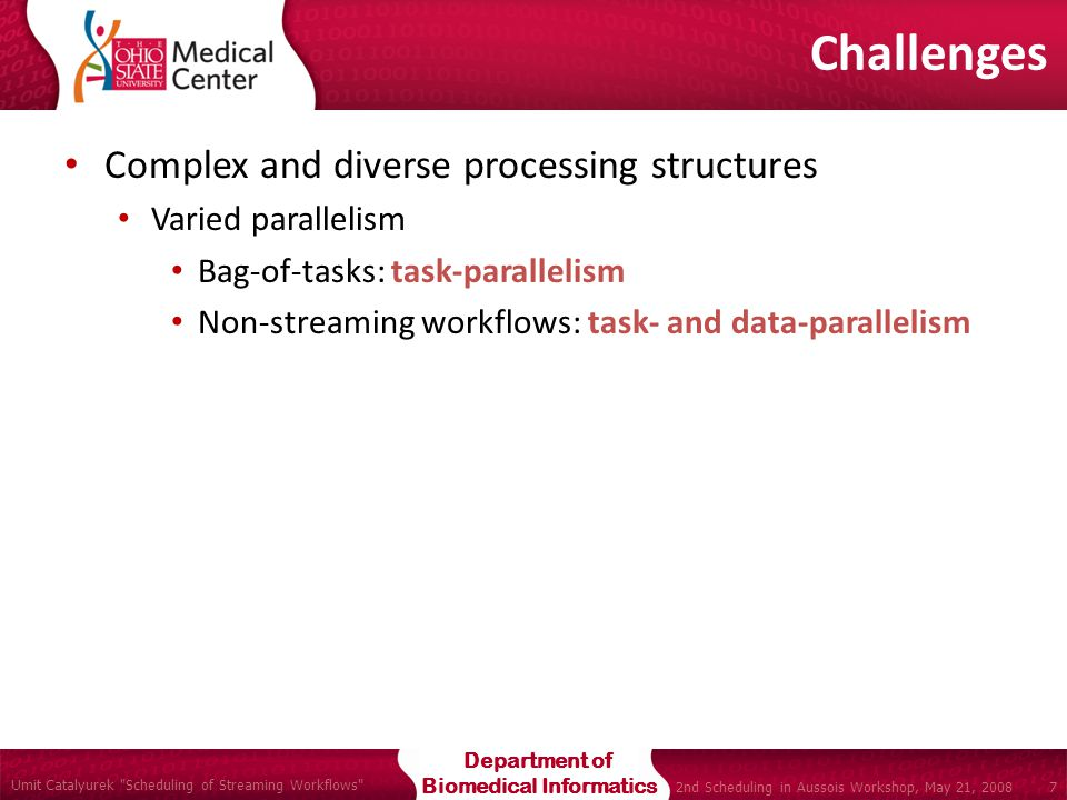 Department of Biomedical Informatics Umit Catalyurek Scheduling of Streaming Workflows 7 2nd Scheduling in Aussois Workshop, May 21, 2008 Complex and diverse processing structures Varied parallelism Bag-of-tasks: task-parallelism Non-streaming workflows: task- and data-parallelism Challenges