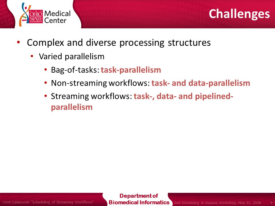 Department of Biomedical Informatics Umit Catalyurek Scheduling of Streaming Workflows 9 2nd Scheduling in Aussois Workshop, May 21, 2008 Complex and diverse processing structures Varied parallelism Bag-of-tasks: task-parallelism Non-streaming workflows: task- and data-parallelism Streaming workflows: task-, data- and pipelined- parallelism Challenges