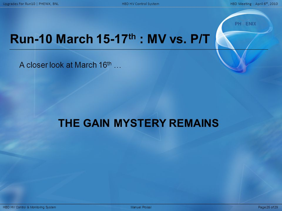 Run-10 March 15-17 th : MV vs.