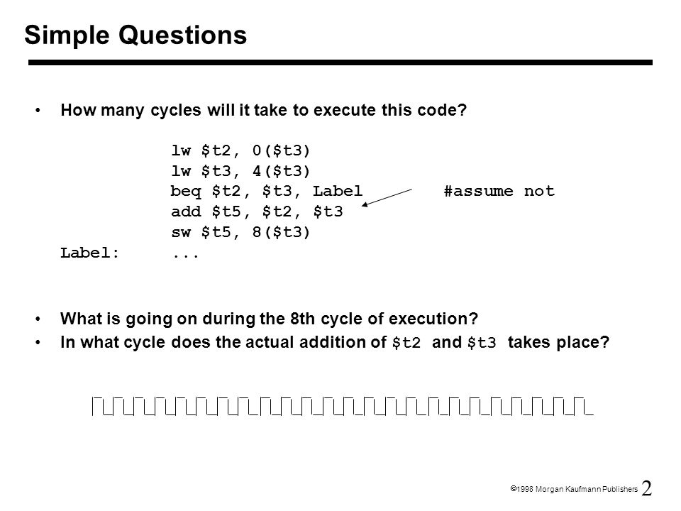 2  1998 Morgan Kaufmann Publishers How many cycles will it take to execute this code.