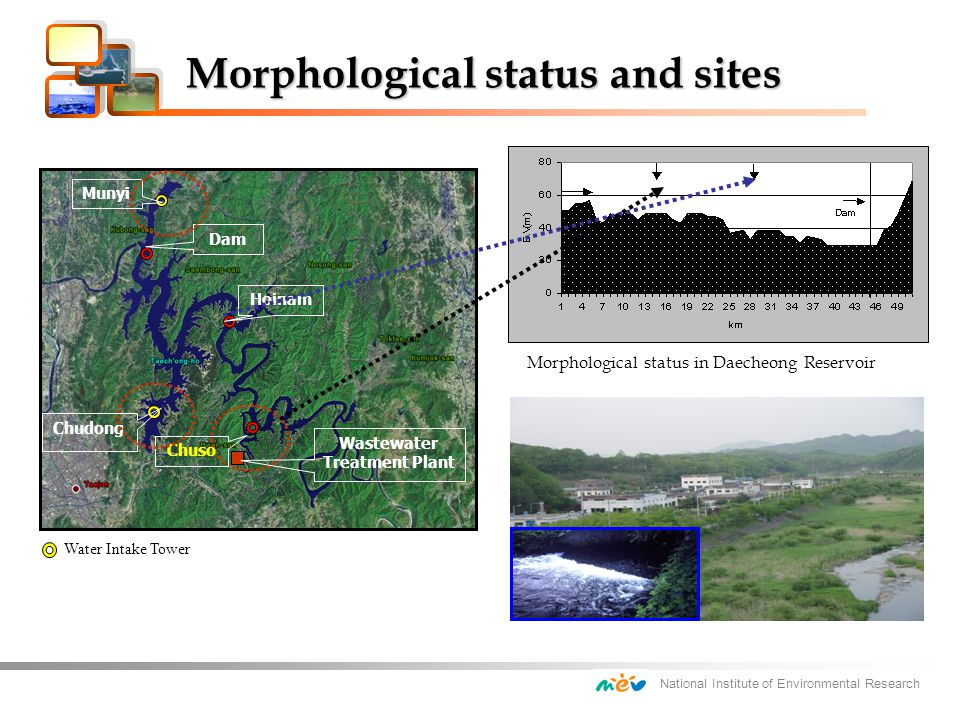 National Institute of Environmental Research Morphological status and sites Morphological status and sites Morphological status in Daecheong Reservoir Water Intake Tower Hoinam Dam Munyi Chudong Chuso Wastewater Treatment Plant