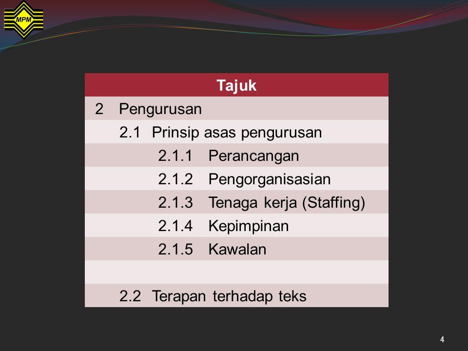 Penaung (Pegawai Daerah Penasihat (Tuk Empat Dahlan dan Imam Saad) Pengerusi (Sudin) Setiausaha (Jahid) Bendahari (Pak Salim) J/Kuasa (Jamaluddin) Pengurusan dalam novel Saudagar Besar dari Kuala Lumpur ketika perayaan menyambut lawatan DYMM Sultan ke Kampung Pulai, dibentukkan struktur organisasi bagi acara tersebut seperti berikut: