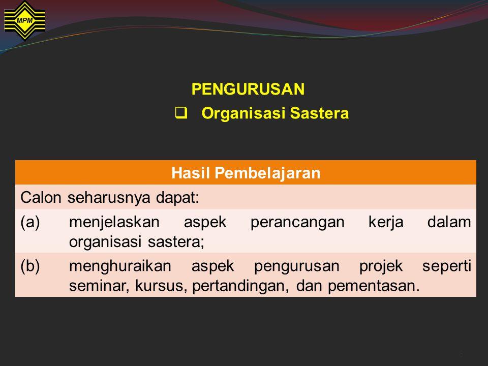 Penggal Pengajian Kod dan Nama Kertas Jenis Ujian Markah (Wajaran) MasaPentadbiran Penggal 3922/3 Kesusasteraan Melayu Komunikatif 3 Ujian Bertulis Bahagian B: Pengurusan Soalan esei 2 soalan diberikan Jawab 1 soalan daripada 2 soalan 75 (26.67%) 25 2 jamPentaksiran berpusat