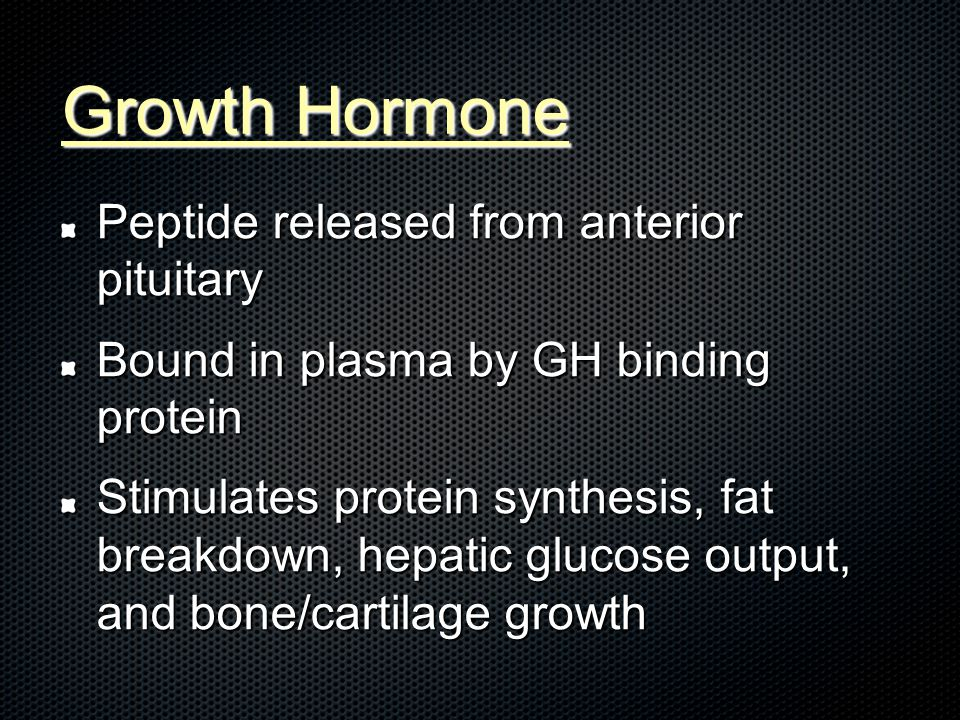 Growth Hormone Peptide released from anterior pituitary Bound in plasma by GH binding protein Stimulates protein synthesis, fat breakdown, hepatic glucose output, and bone/cartilage growth