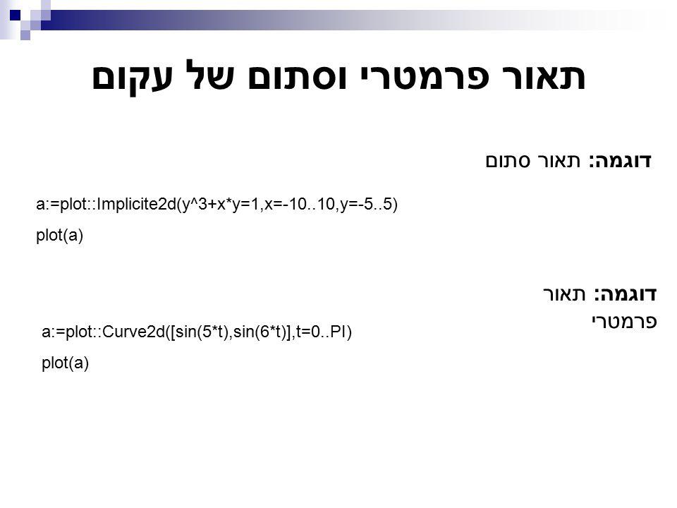 תאור פרמטרי וסתום של עקום דוגמה: תאור סתום a:=plot::Implicite2d(y^3+x*y=1,x=-10..10,y=-5..5) plot(a) דוגמה: תאור פרמטרי a:=plot::Curve2d([sin(5*t),sin(6*t)],t=0..PI) plot(a)