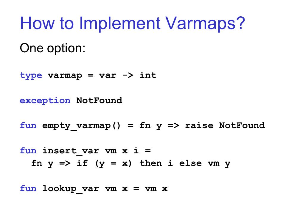 How to Implement Varmaps.