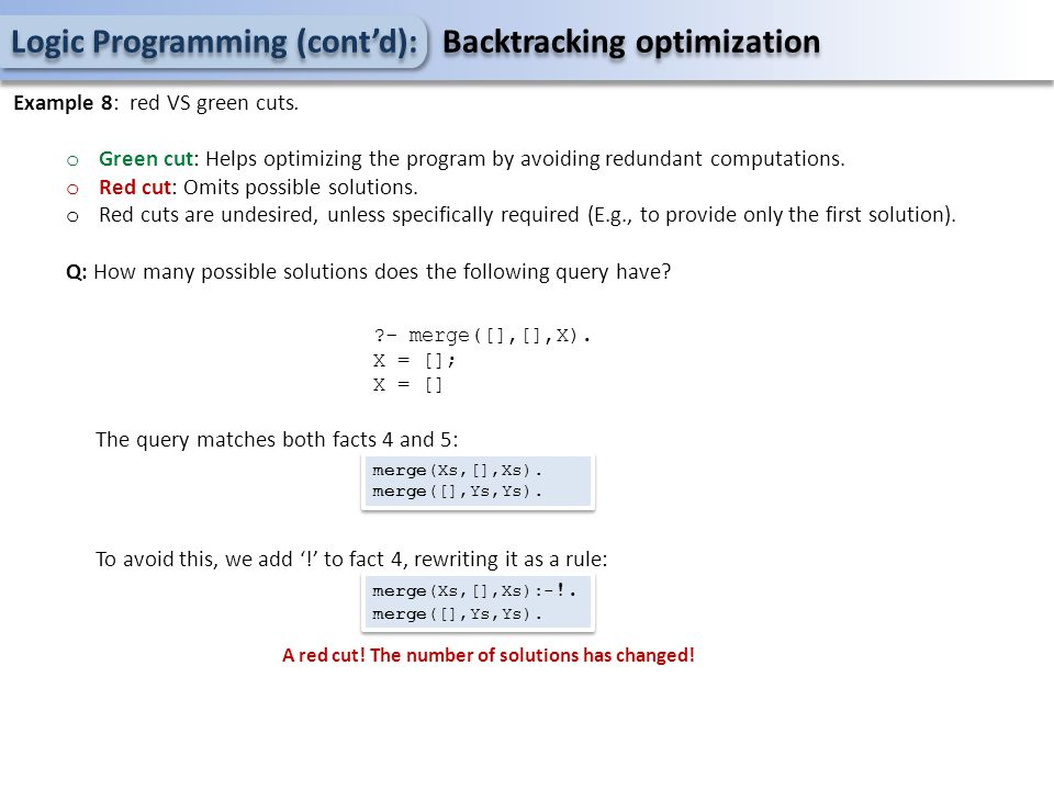 Logic Programming (cont'd): Backtracking optimization Example 8: red VS green cuts.