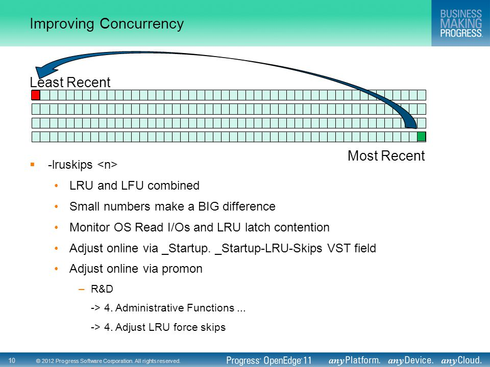 © 2012 Progress Software Corporation. All rights reserved. 10 Improving Concurrency Least Recent Most Recent  -lruskips LRU and LFU combined Small nu