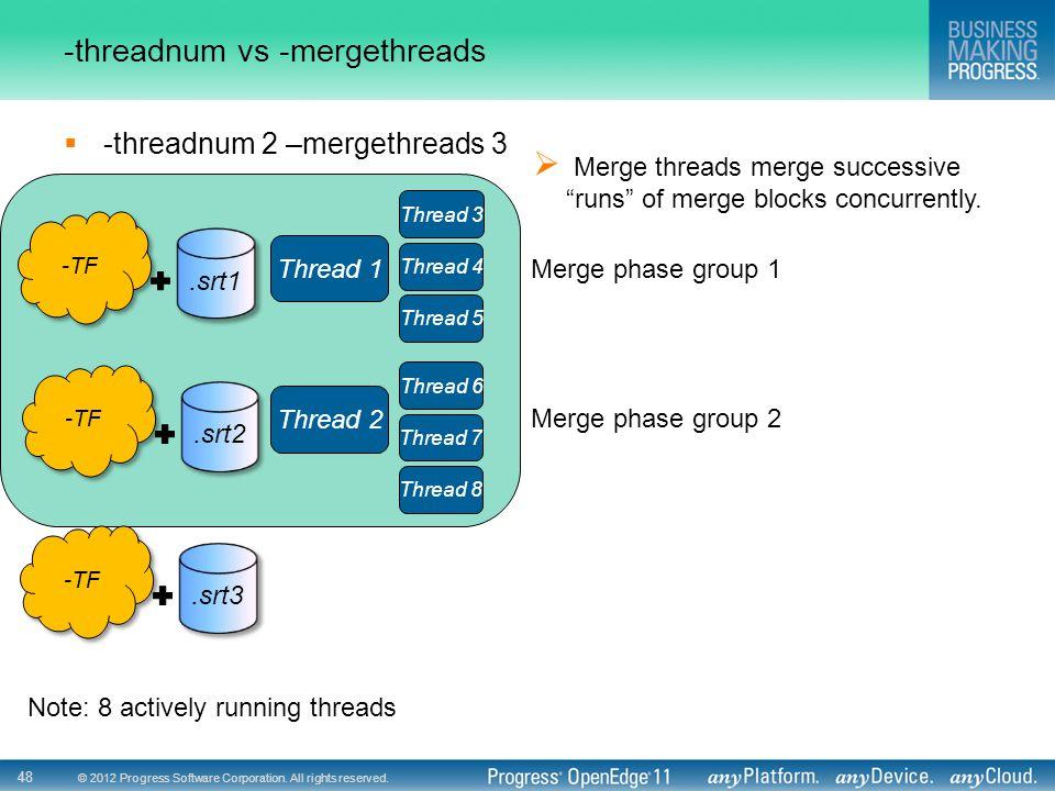 © 2012 Progress Software Corporation. All rights reserved. 48 -threadnum vs -mergethreads  -threadnum 2 –mergethreads 3 Thread 1 Thread 2 Note: 8 act