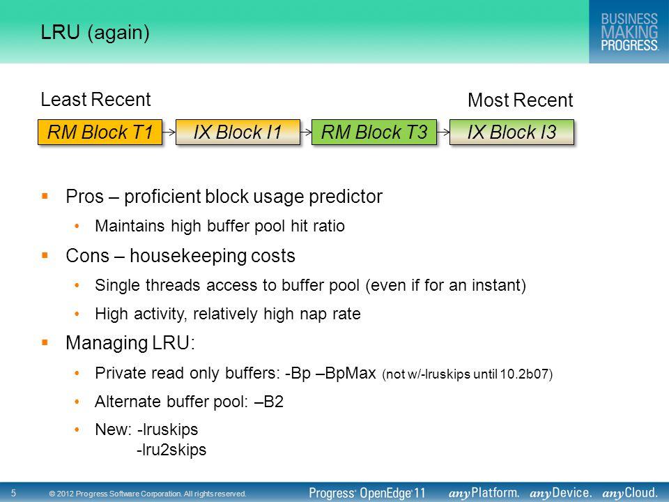 © 2012 Progress Software Corporation. All rights reserved. 5 LRU (again) RM Block T1 IX Block I1 RM Block T3 IX Block I3 Least Recent Most Recent  Pr