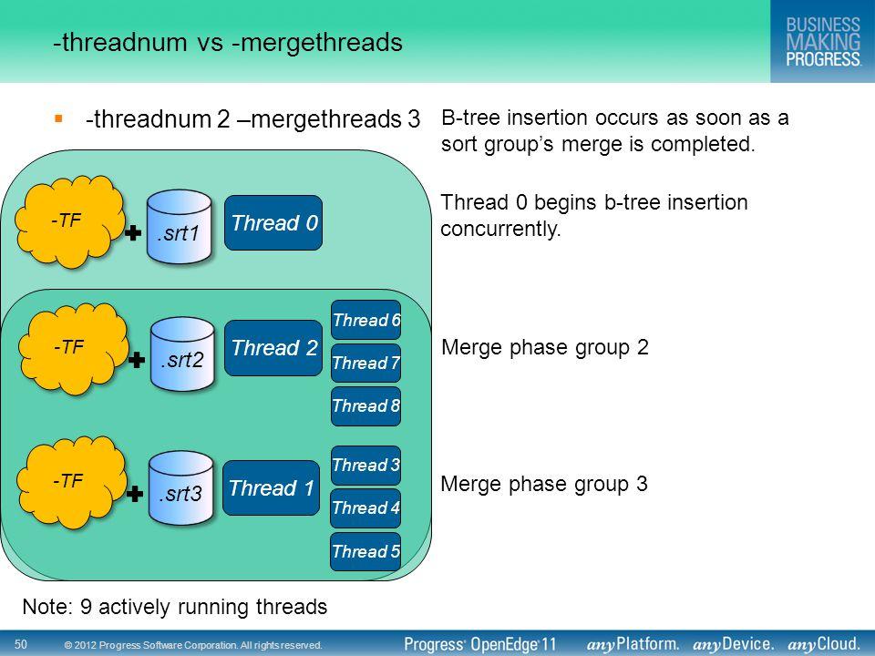 © 2012 Progress Software Corporation. All rights reserved. 50 -threadnum vs -mergethreads  -threadnum 2 –mergethreads 3 Thread 0 Thread 2 Thread 6 Th