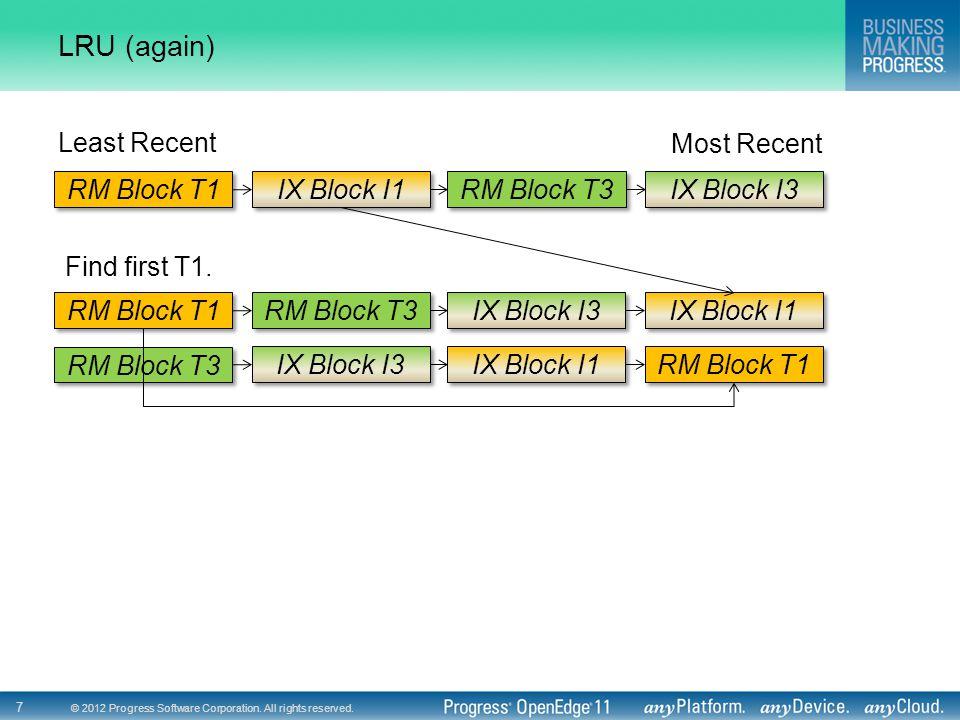 © 2012 Progress Software Corporation. All rights reserved. 7 LRU (again) RM Block T1 IX Block I1 RM Block T3 IX Block I3 Least Recent Most Recent Find