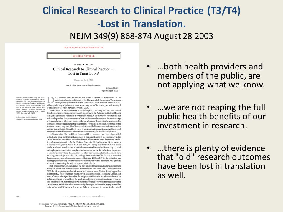 Clinical Research to Clinical Practice (T3/T4) -Lost in Translation.