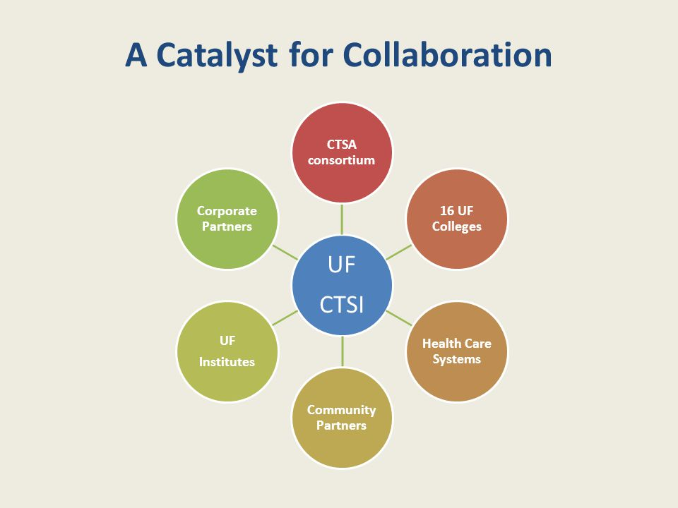 A Catalyst for Collaboration UF CTSI CTSA consortium 16 UF Colleges Health Care Systems Community Partners UF Institutes Corporate Partners