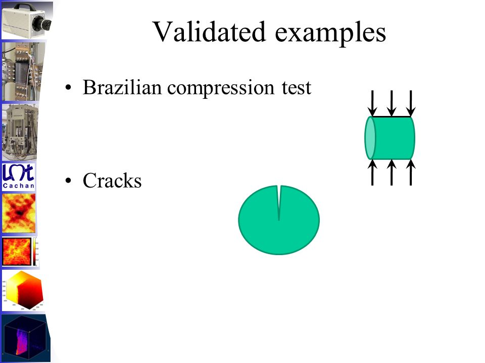 Validated examples Brazilian compression test Cracks