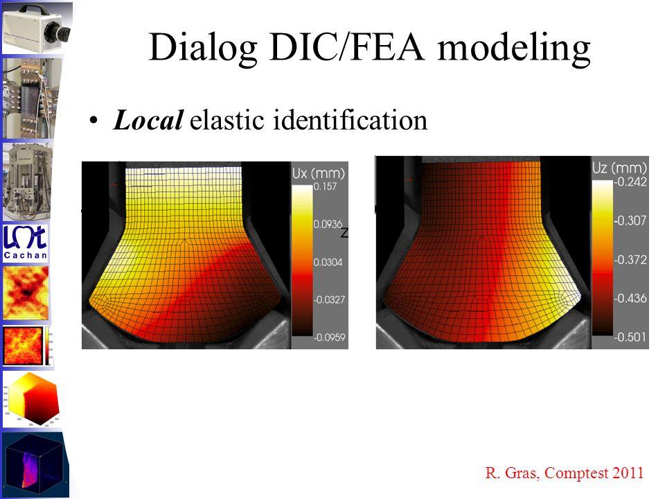 Dialog DIC/FEA modeling Local elastic identification R. Gras, Comptest 2011