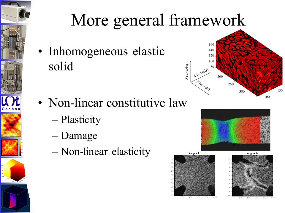 More general framework Inhomogeneous elastic solid Non-linear constitutive law –Plasticity –Damage –Non-linear elasticity