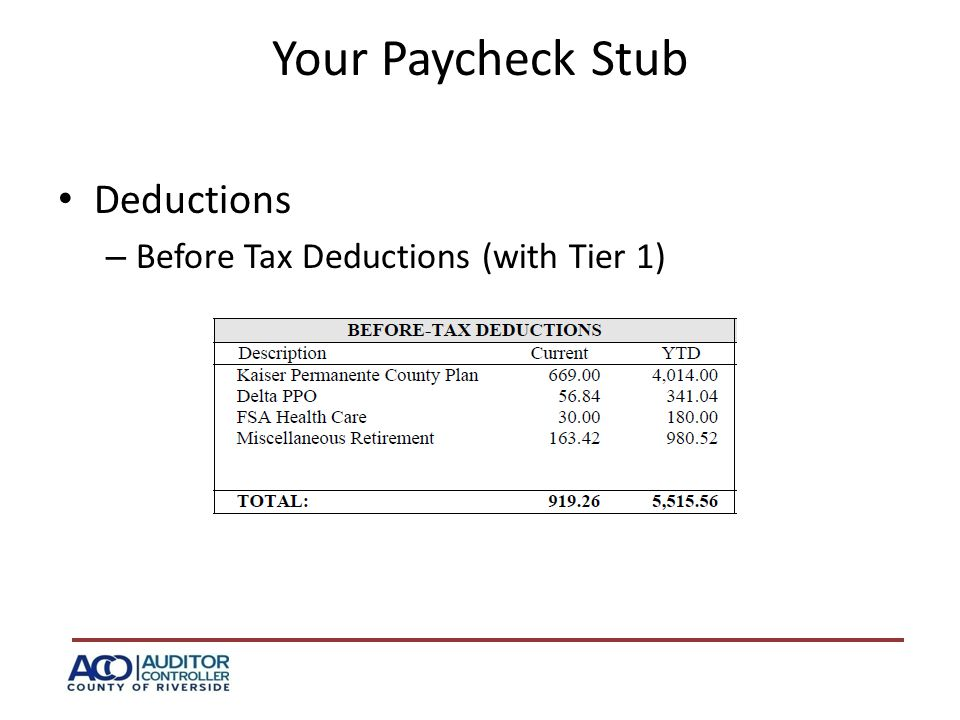 Your Paycheck Stub Deductions – Before Tax Deductions (with Tier 1)
