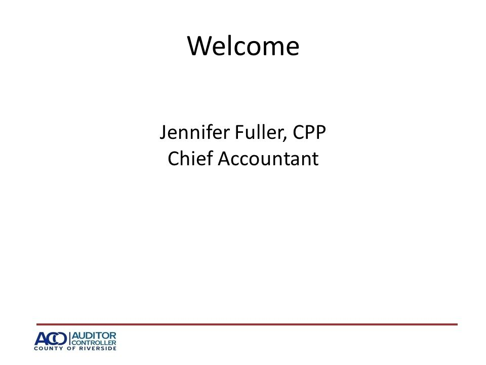 Welcome Jennifer Fuller, CPP Chief Accountant