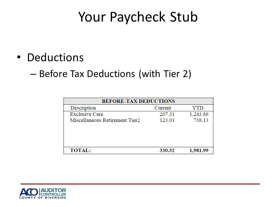 Your Paycheck Stub Deductions – Before Tax Deductions (with Tier 2)