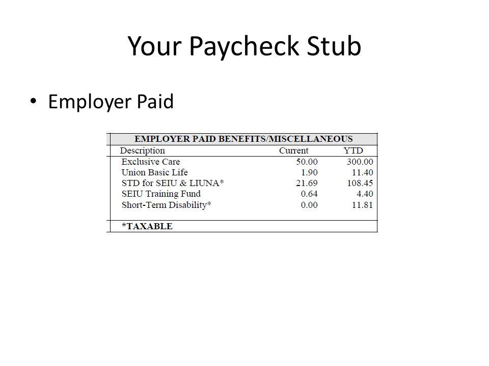 Your Paycheck Stub Employer Paid