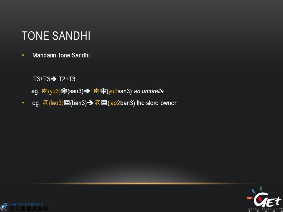 TONE SANDHI Mandarin Tone Sandhi : T3+T3  T2+T3 eg.