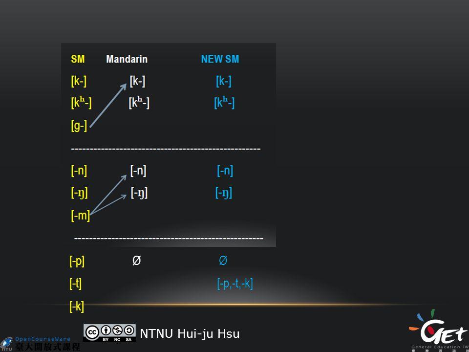 [-p] Ø Ø [-t] [-p,-t,-k] [-k] NTNU Hui-ju Hsu