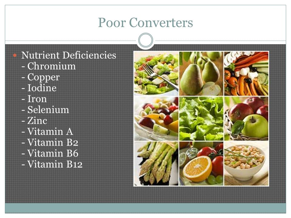 Poor Converters Nutrient Deficiencies - Chromium - Copper - Iodine - Iron - Selenium - Zinc - Vitamin A - Vitamin B2 - Vitamin B6 - Vitamin B12