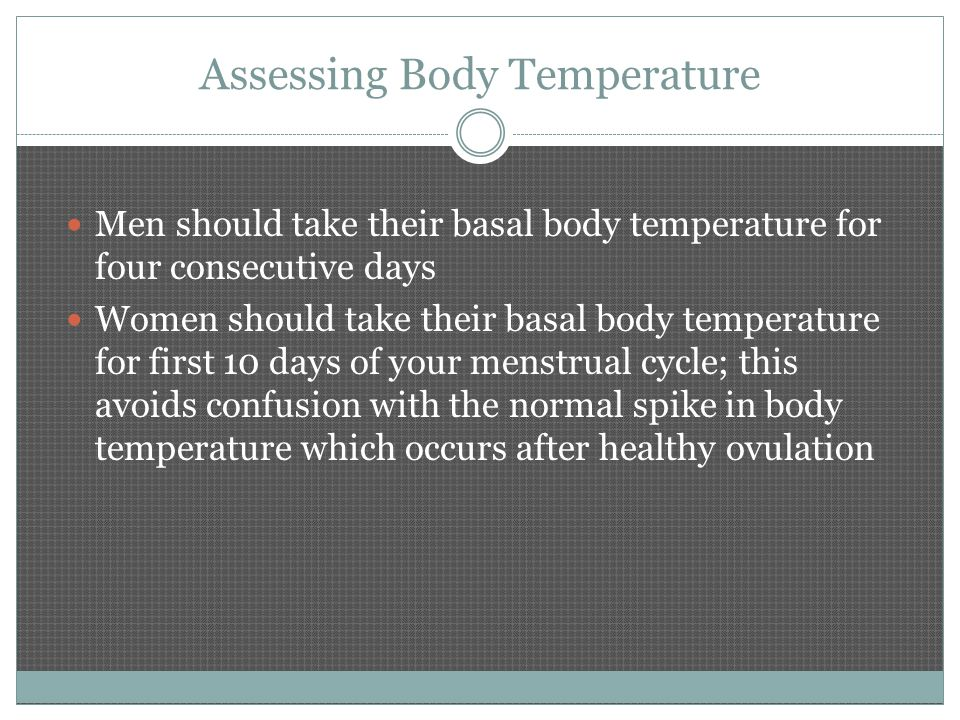 Assessing Body Temperature Men should take their basal body temperature for four consecutive days Women should take their basal body temperature for first 10 days of your menstrual cycle; this avoids confusion with the normal spike in body temperature which occurs after healthy ovulation