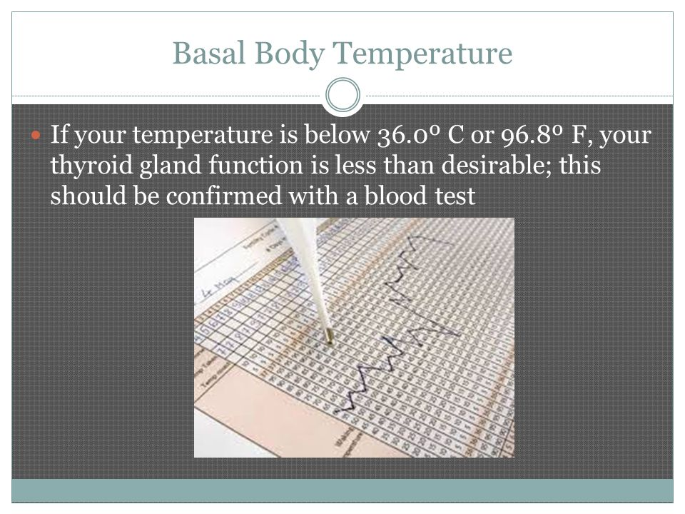 Basal Body Temperature If your temperature is below 36.0º C or 96.8º F, your thyroid gland function is less than desirable; this should be confirmed with a blood test
