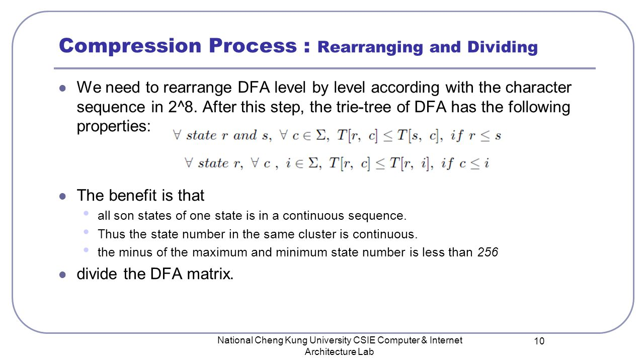 Compression Process : Rearranging and Dividing We need to rearrange DFA level by level according with the character sequence in 2^8.