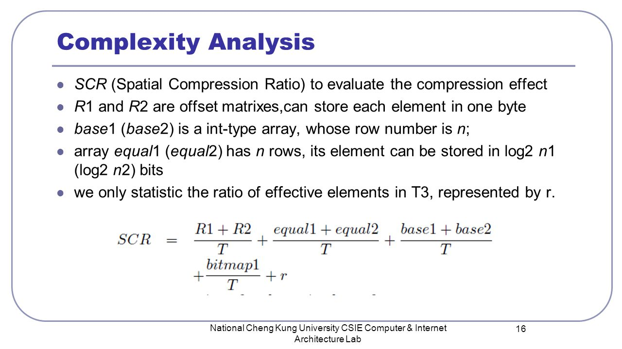 Complexity Analysis SCR (Spatial Compression Ratio) to evaluate the compression effect R1 and R2 are offset matrixes,can store each element in one byt