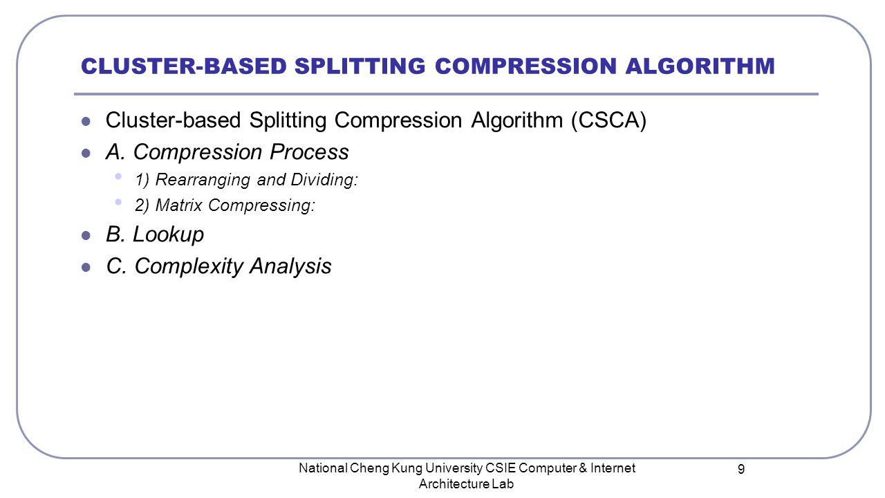 CLUSTER-BASED SPLITTING COMPRESSION ALGORITHM Cluster-based Splitting Compression Algorithm (CSCA) A. Compression Process 1) Rearranging and Dividing: