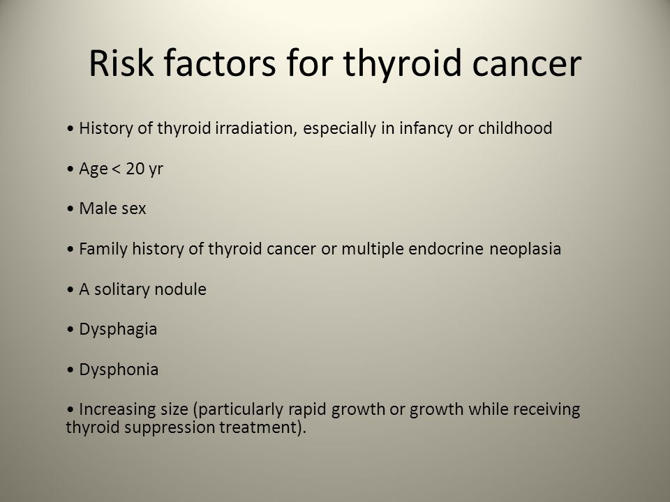 Risk factors for thyroid cancer History of thyroid irradiation, especially in infancy or childhood Age < 20 yr Male sex Family history of thyroid cancer or multiple endocrine neoplasia A solitary nodule Dysphagia Dysphonia Increasing size (particularly rapid growth or growth while receiving thyroid suppression treatment).