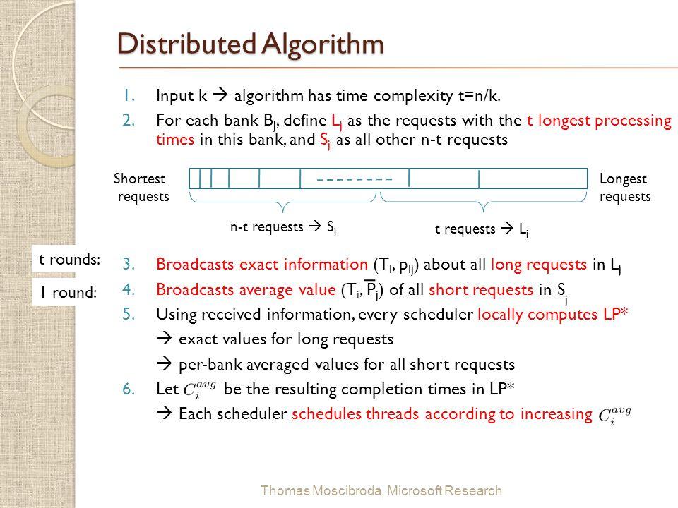 $ Thomas Moscibroda, Microsoft Research Distributed Algorithm 1.Input k  algorithm has time complexity t=n/k. 2.For each bank B j, define L j as the