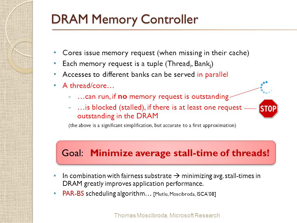 $ Thomas Moscibroda, Microsoft Research DRAM Memory Controller Cores issue memory request (when missing in their cache) Each memory request is a tuple