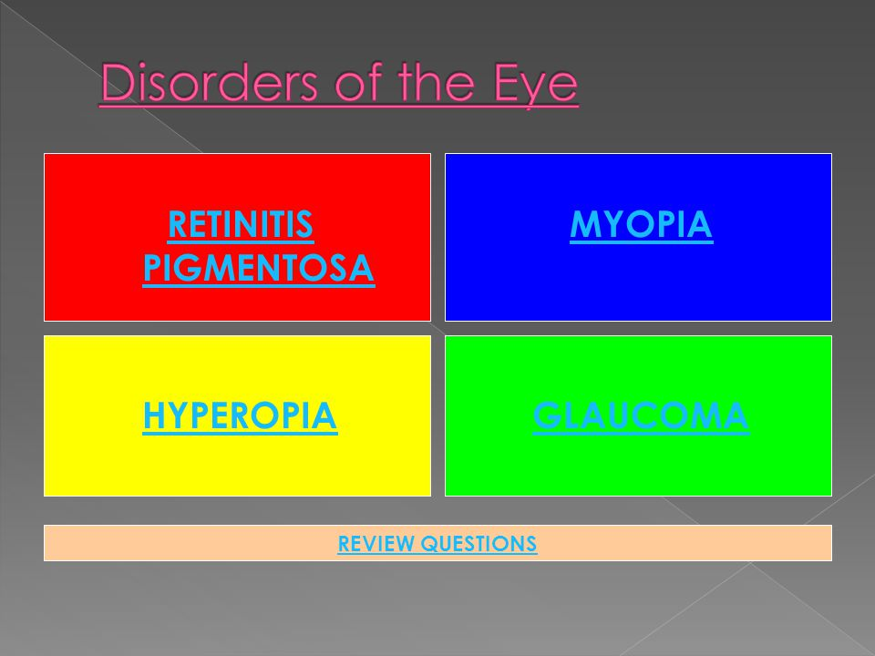 RETINITIS PIGMENTOSA MYOPIA HYPEROPIAGLAUCOMA REVIEW QUESTIONS