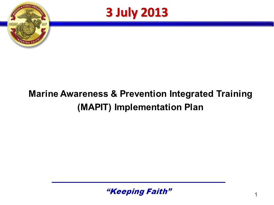 3 July 2013 Marine Awareness & Prevention Integrated Training (MAPIT) Implementation Plan 1