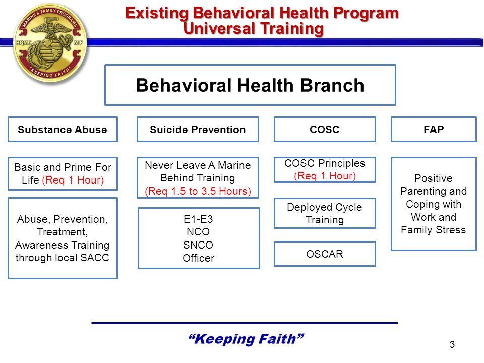 Existing Behavioral Health Program Universal Training Existing Behavioral Health Program Universal Training Behavioral Health Branch Substance AbuseSu